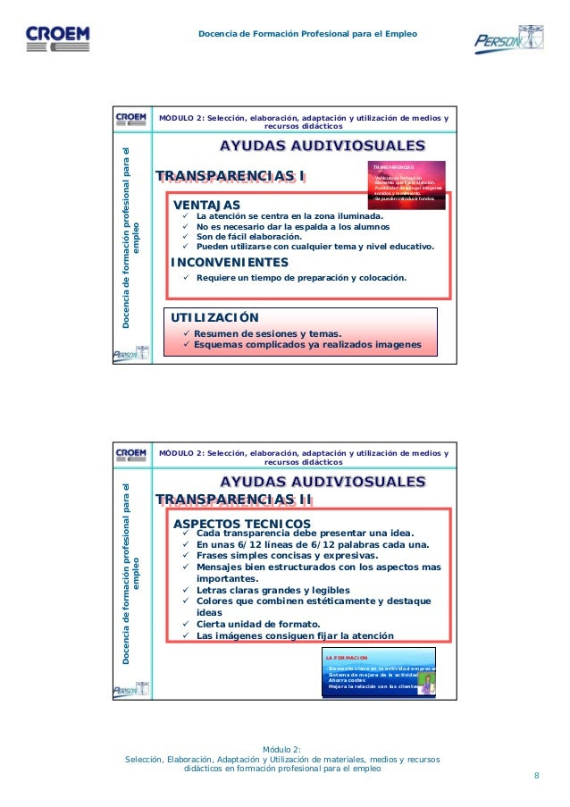 8 Docencia de Formación Profesional para el Empleo Módulo 2: Selección, Elaboración, Adaptación y Utilización de materiale...