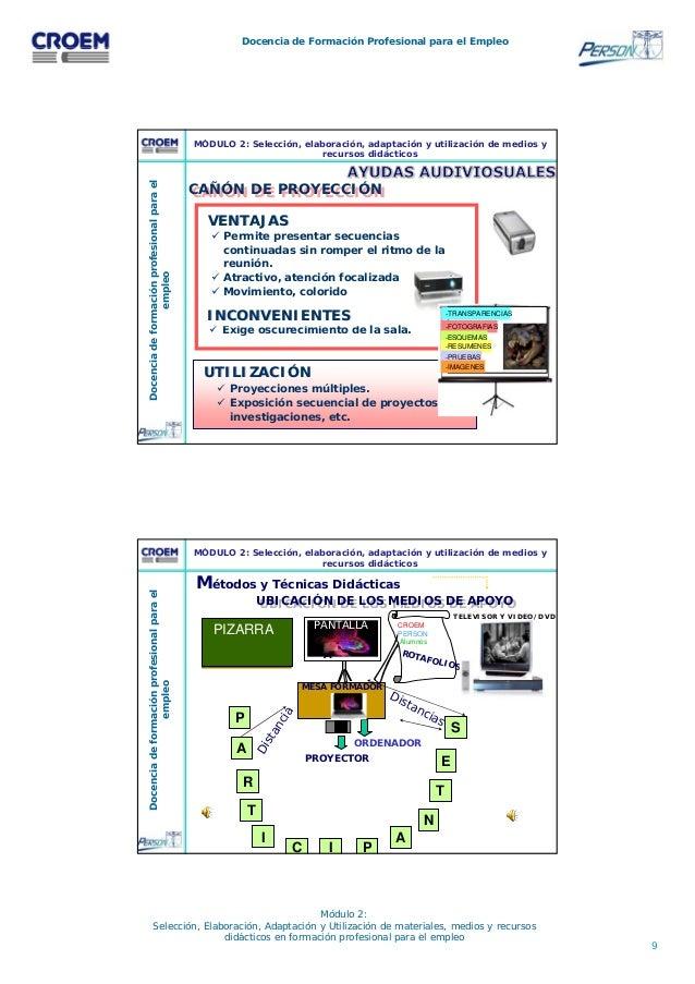 9 Docencia de Formación Profesional para el Empleo Módulo 2: Selección, Elaboración, Adaptación y Utilización de materiale...