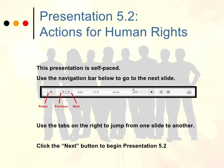 Presentation 5.2:  Actions for Human Rights This presentation is self-paced. Use the navigation bar below to go to the nex...