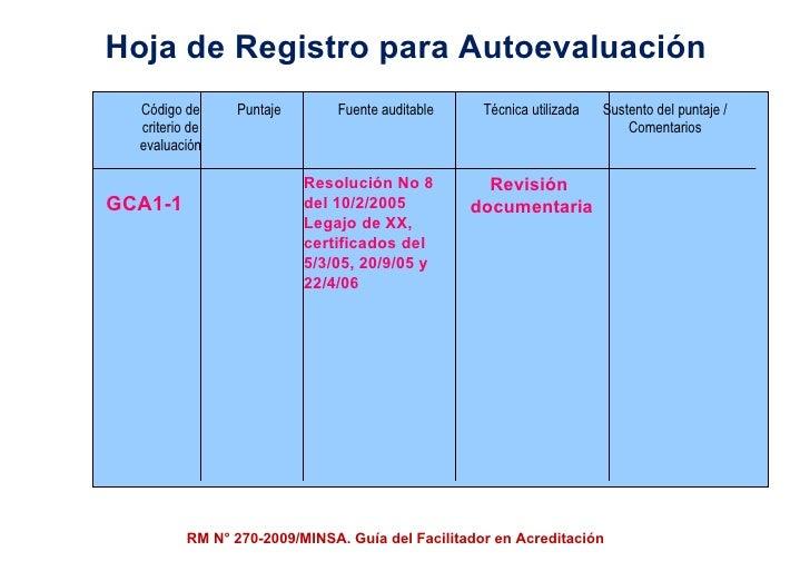Hoja de Registro para Autoevaluación GCA1-1 Resolución No 8 del 10/2/2005 Legajo de XX, certificados del  5/3/05, 20/9/05 ...