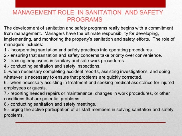 food safety and sanitation essay Course format students will acquire knowledge of the pertinent issues in food safety and sanitation through the use of lectures, class.