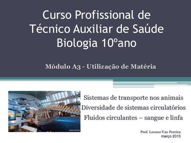 Curso Profissional deTécnico Auxiliar de SaúdeBiologia 10ºanoSistemas de transporte nos animaisDiversidade de sistemas cir...