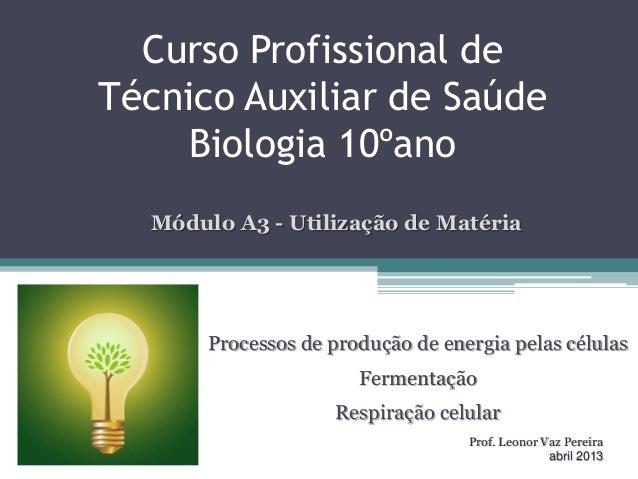 Curso Profissional deTécnico Auxiliar de SaúdeBiologia 10ºanoProcessos de produção de energia pelas célulasFermentaçãoResp...