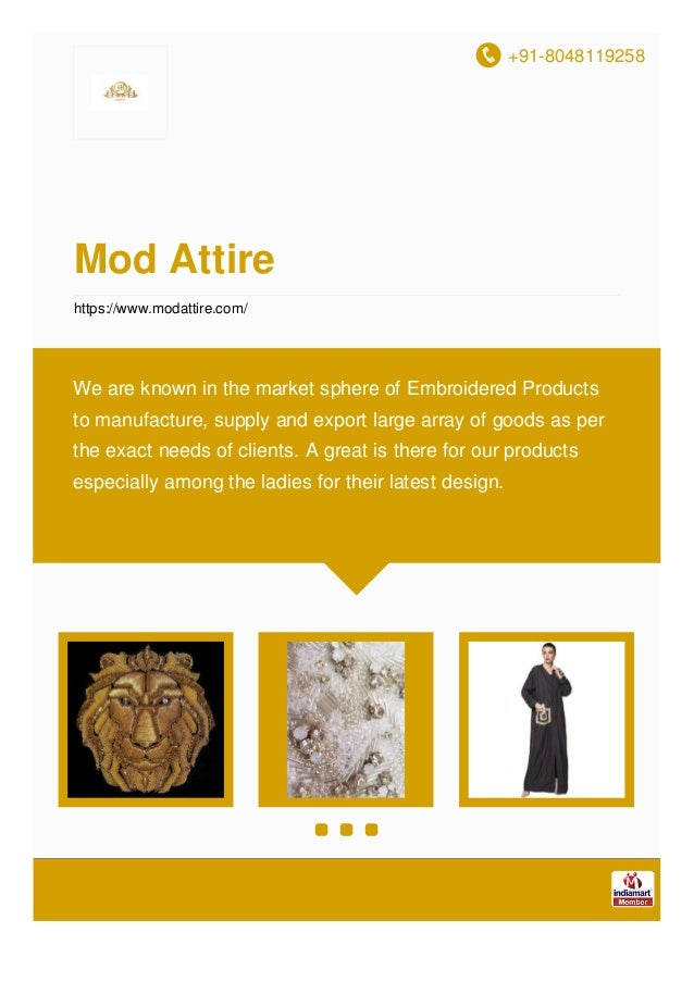 +91-8048119258 Mod Attire https://www.modattire.com/ We are known in the market sphere of Embroidered Products to manufact...