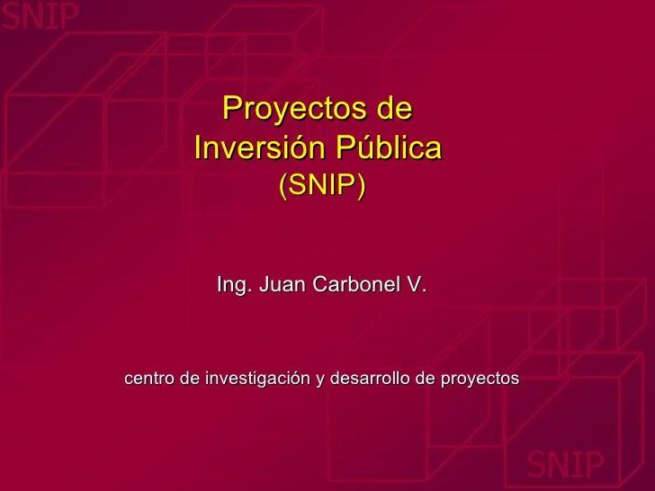 Proyectos de  Inversión Pública   (SNIP) Ing. Juan Carbonel V. centro de investigación y desarrollo de proyectos
