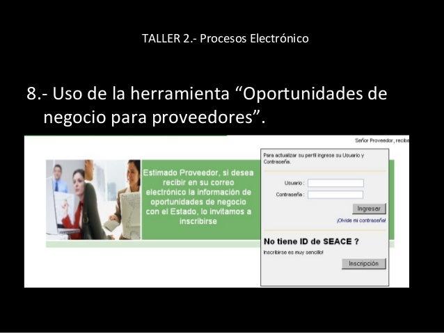 TALLER 2.- Procesos Electrónico 9.- Indicar la página de Procesos electrónicos.