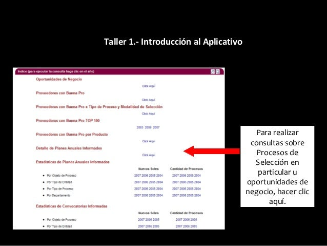 4.- Búsqueda de Procesos Registrar los parámetros para realizar la búsqueda. O directamente hacer clic sobre el rubro dese...