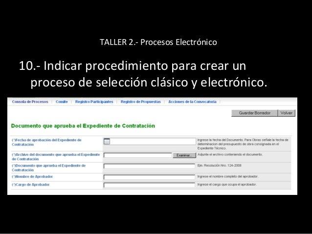 TALLER 2.- Procesos Electrónico 11.- Manejo del Modulo de Convenio marco