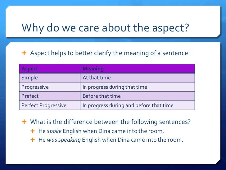 Why do we care about the aspect?<br />Aspect helps to better clarify the meaning of a sentence.<br />What is the differenc...