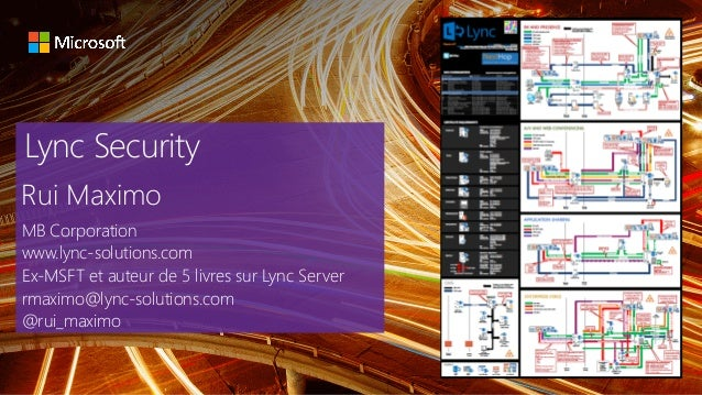 Lync Security Rui Maximo MB Corporation www.lync-solutions.com Ex-MSFT et auteur de 5 livres sur Lync Server rmaximo@lync-...