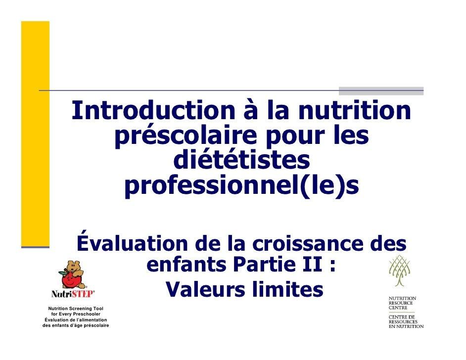 Introduction à la nutrition                préscolaire pour les                     diététistes                 profession...