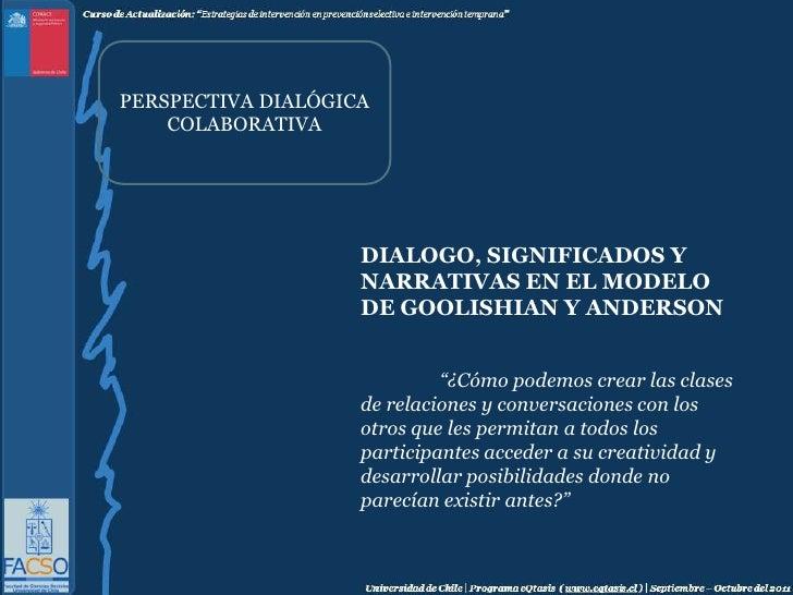 """PERSPECTIVA DIALÓGICA COLABORATIVA<br />DIALOGO, SIGNIFICADOS Y NARRATIVAS EN EL MODELO DE GOOLISHIAN Y ANDERSON<br />""""¿C..."""