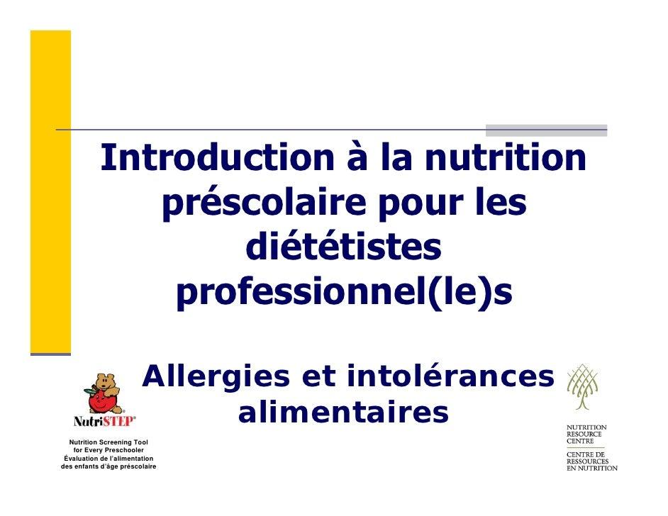 Introduction à la nutrition               préscolaire pour les                    diététistes                professionnel...