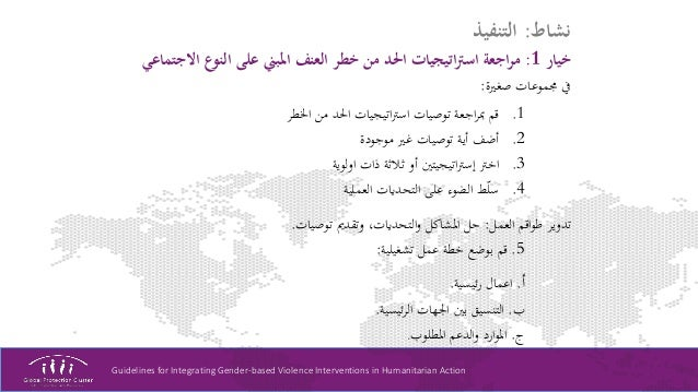 Guidelines for Integrating Gender-based Violence Interventions in Humanitarian Action نشاط:التنفيذ خيار1:اال النو...