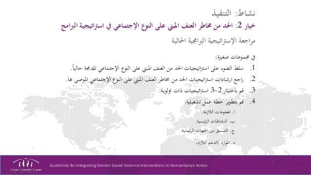 Guidelines for Integrating Gender-based Violence Interventions in Humanitarian Action نشاط:التنفيذ خيار2:اتيجيرت...