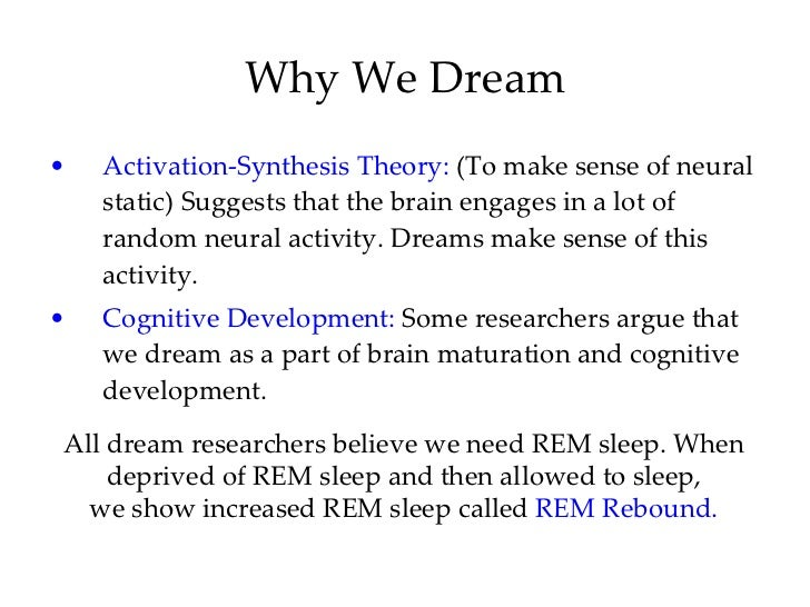 sleeping and dreaming and theories of sleep essay Rem sleep and theories on the purpose of dream this research paper rem sleep and theories on the purpose of dream and other 64,000+ term papers, college essay examples and free essays are available now on reviewessayscom.