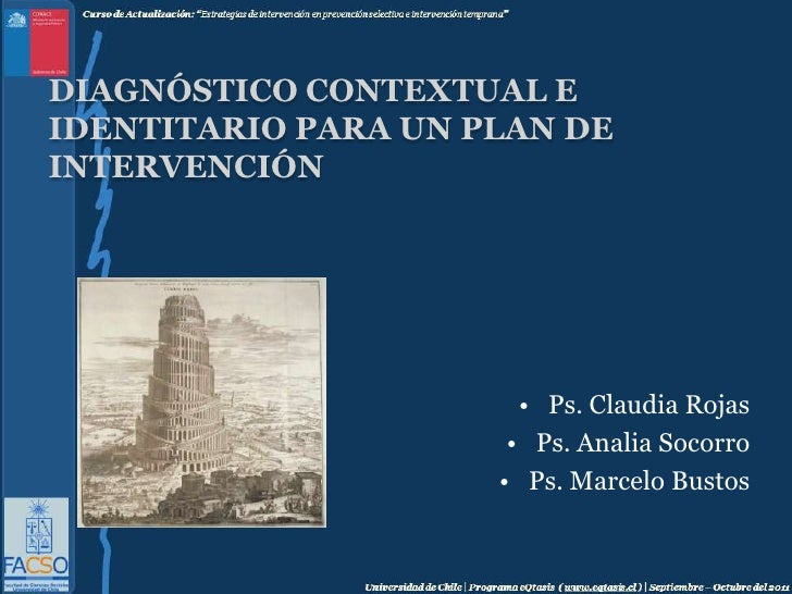 Diagnóstico contextual e identitario para un plan de intervención<br />Ps. Claudia Rojas<br />Ps. Analia Socorro<br />Ps. ...