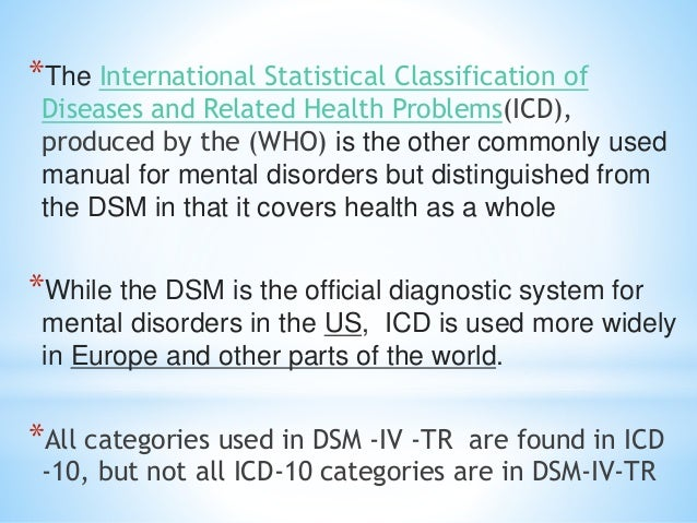 *The International Statistical Classification of Diseases and Related Health Problems(ICD), produced by the (WHO) is the o...