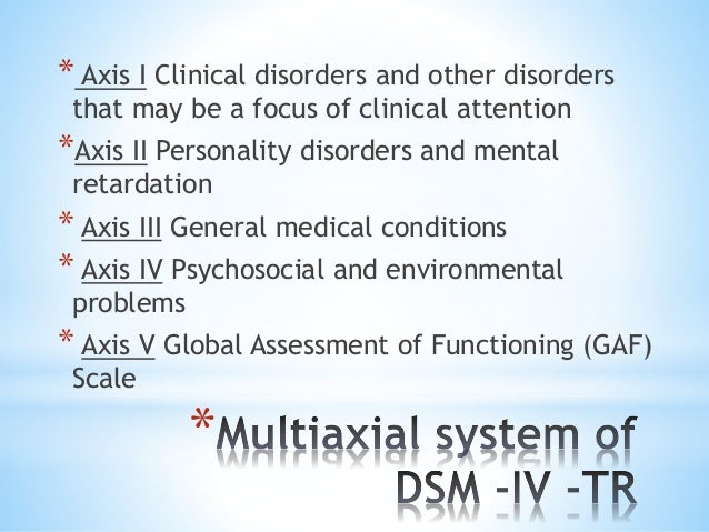 * * Axis I Clinical disorders and other disorders that may be a focus of clinical attention *Axis II Personality disorders...