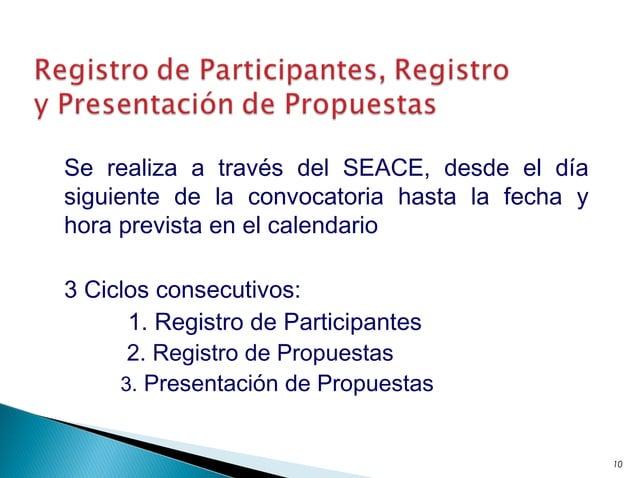Se realiza a través del SEACE, desde el día siguiente de la convocatoria hasta la fecha y hora prevista en el calendario 3...