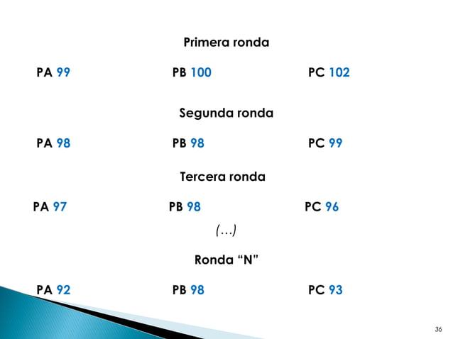 "36 Primera ronda PA 99 PB 100 PC 102 Segunda ronda PA 98 PB 98 PC 99 Tercera ronda PA 97 PB 98 PC 96 (…) Ronda ""N"" PA 92 P..."