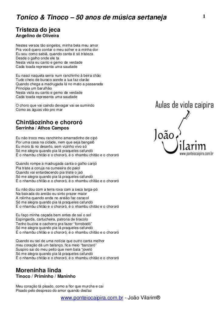 Tonico & Tinoco – 50 anos de música sertaneja                         1Tristeza do jecaAngelino de OliveiraNestes versos t...