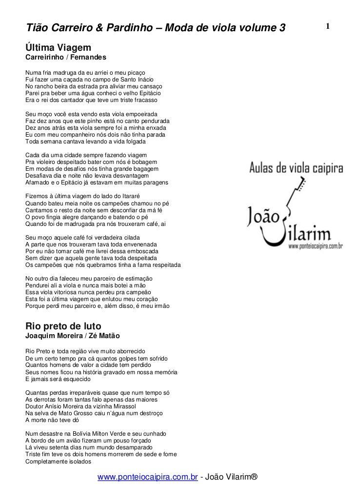 Tião Carreiro & Pardinho – Moda de viola volume 3                     1Última ViagemCarreirinho / FernandesNuma fria madru...