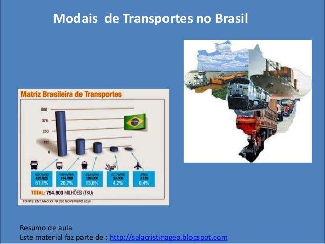 Modais de Transportes no Brasil Resumo de aula Este material faz parte de : http://salacristinageo.blogspot.com
