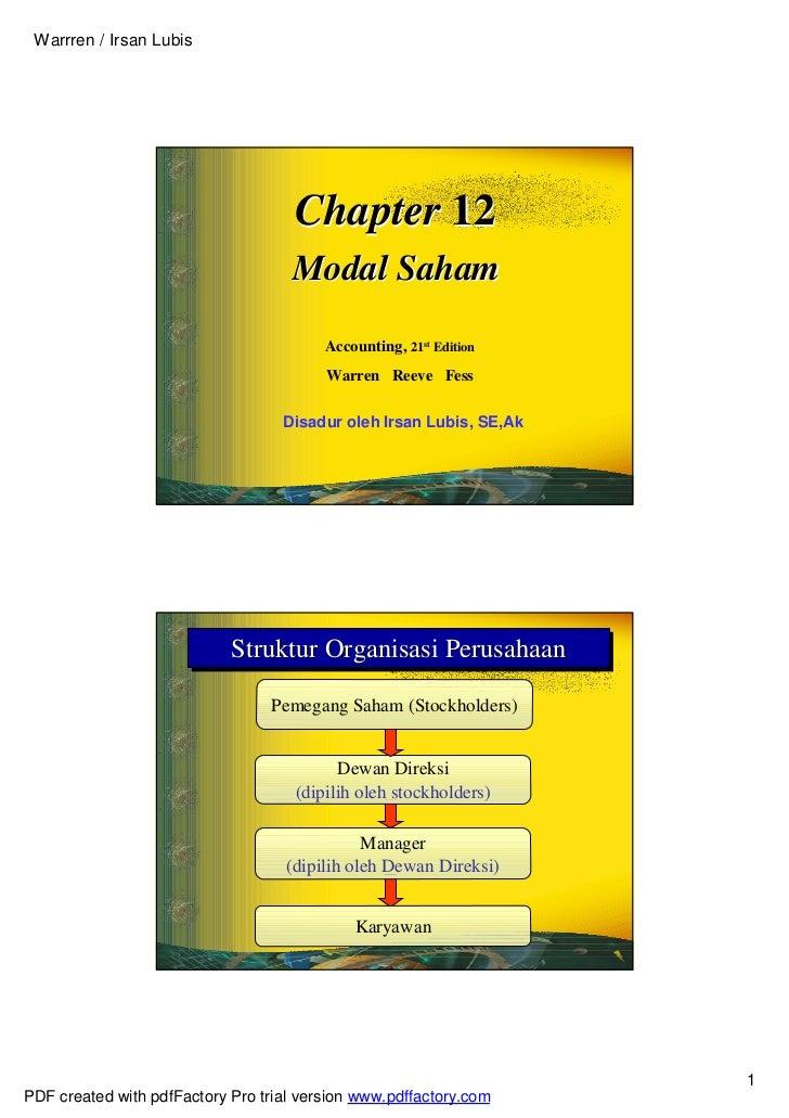 Warrren / Irsan Lubis                                     Chapter 12                                    Modal Saham       ...