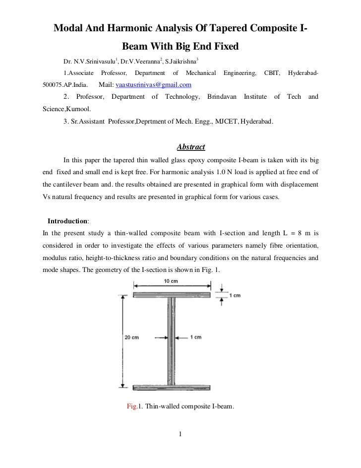 Modal And Harmonic Analysis Of Tapered Composite I-                             Beam With Big End Fixed       Dr. N.V.Srin...