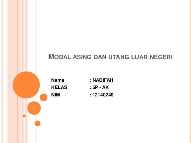 MODAL ASING DAN UTANG LUAR NEGERI Nama : NADIFAH KELAS : 5P - AK NIM : 12140240 1