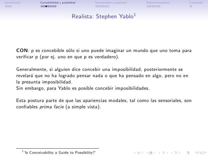 Introducci´n          o                 Concebibilidad y posibilidad     Necesariedad a posteriori   Bidimensionalismo   C...
