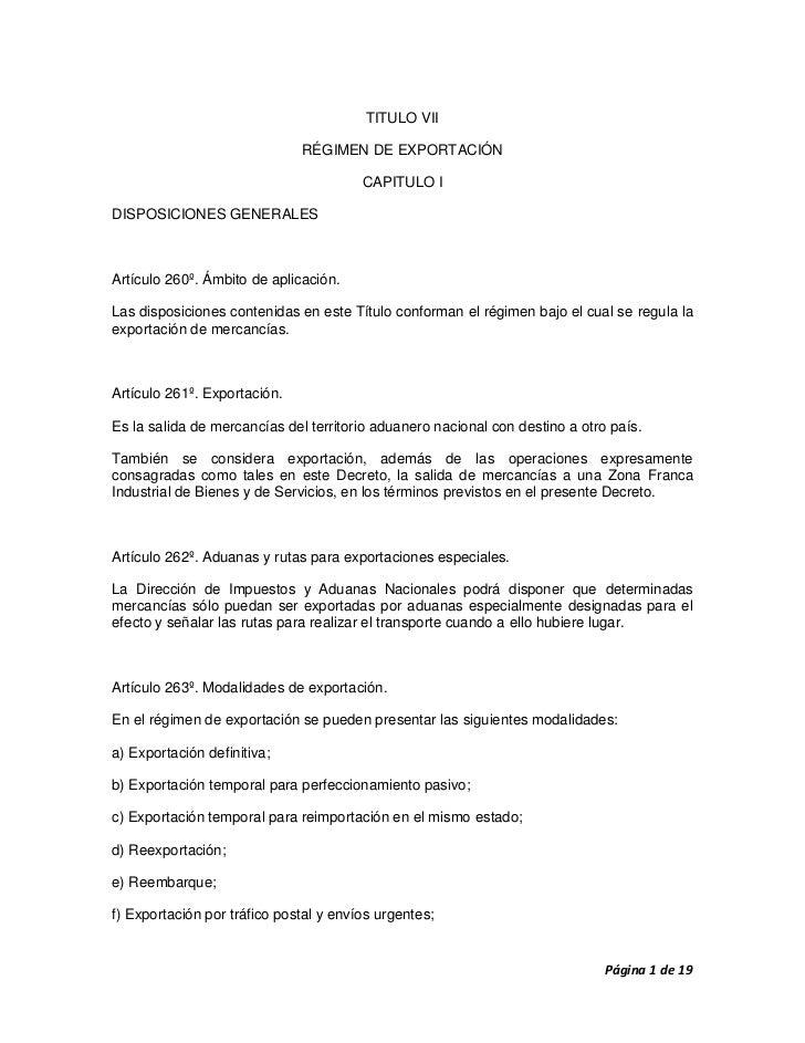 TITULO VII                              RÉGIMEN DE EXPORTACIÓN                                        CAPITULO IDISPOSICIO...
