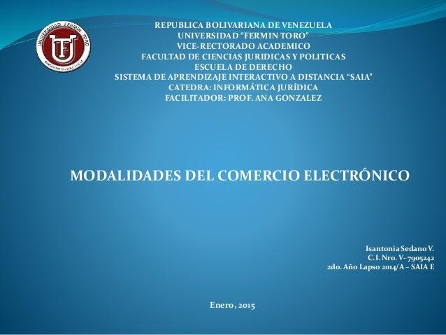 """REPUBLICA BOLIVARIANA DE VENEZUELA UNIVERSIDAD """"FERMIN TORO"""" VICE-RECTORADO ACADEMICO FACULTAD DE CIENCIAS JURIDICAS Y POL..."""