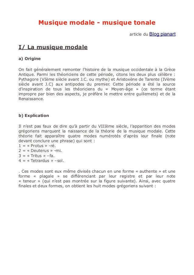 Musique modale - musique tonale article du Blog pianart I/ La musique modale a) Origine On fait généralement remonter l'hi...