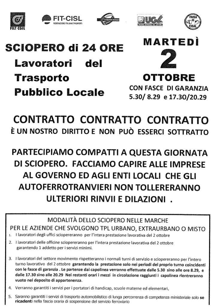 Sciopero Nazionale TPL 2 ottobre 2012. Modalità nelle Marche