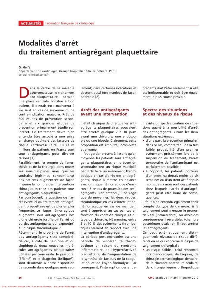 ACTUALITÉS Fédération française de cardiologie               Modalités d'arrêt               du traitement antiagrégant pl...