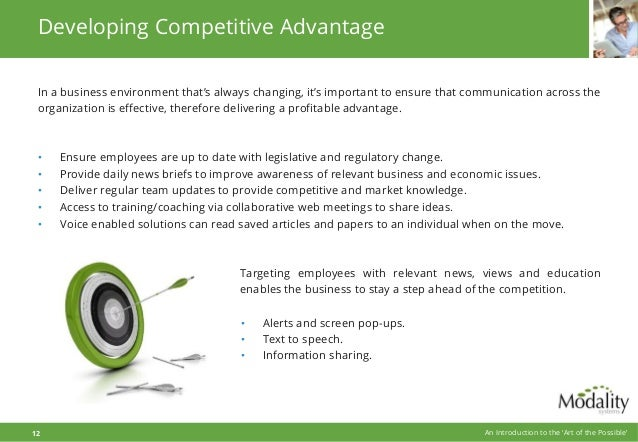 Developing Competitive Advantage In a business environment that's always changing, it's important to ensure that communica...