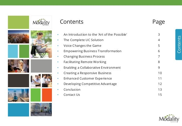 Contents Page Contents • An Introduction to the 'Art of the Possible' 3 • The Complete UC Solution 4 • Voice Changes th...
