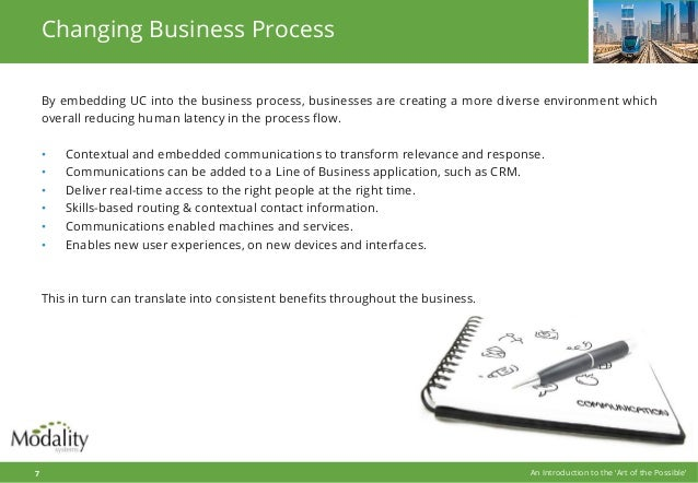 Changing Business Process By embedding UC into the business process, businesses are creating a more diverse environment wh...