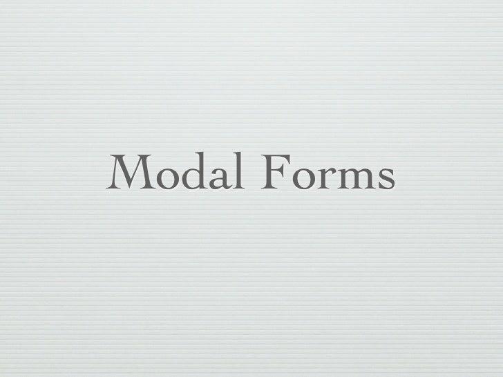 Modal Forms