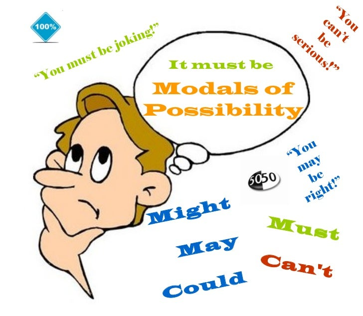 "Modals of Possibility Might May Could Must Can't "" You must be joking!"" "" You can't be  serious !"" "" You may be right!"" It..."
