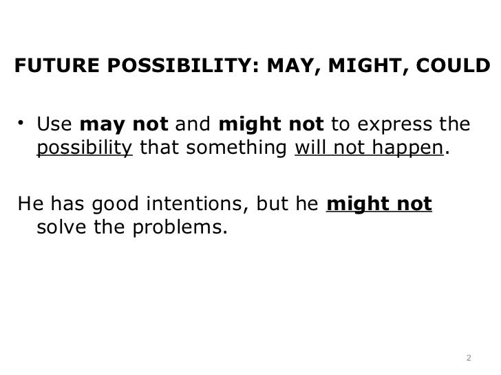 future possibilities Future possibility and probability modals will have to, have to and must convey the idea that an action is going to be necessary in the near future the negative forms are will not and do not have to.