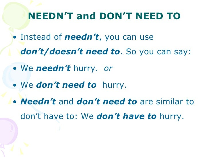 modal verb 'need' for necessity