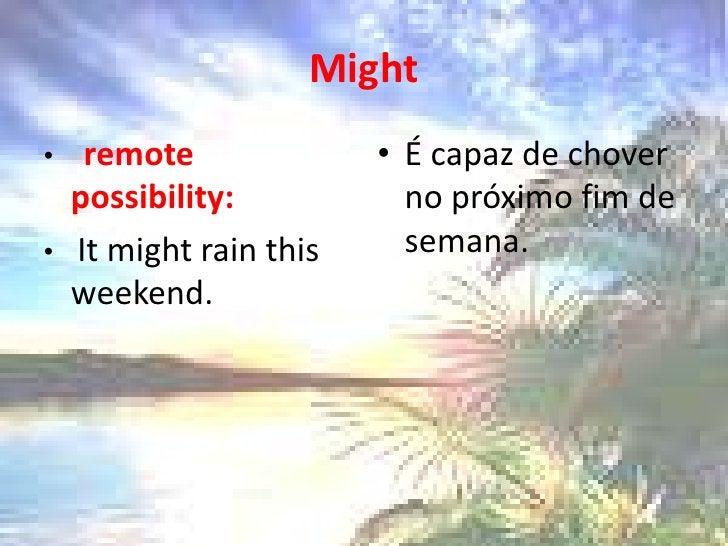 Might<br />remotepossibility:<br />It mightrainthis weekend. <br />É capaz de chover no próximo fim de semana.<br />