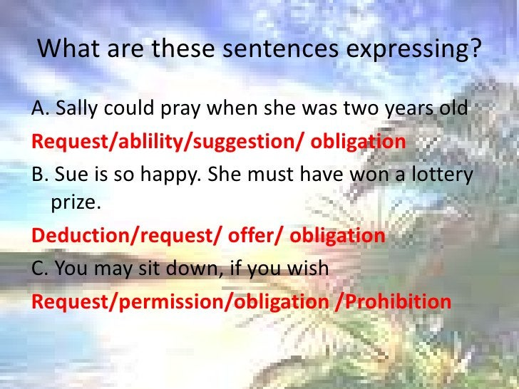 What are thesesentencesexpressing?<br />A. Sally couldpraywhenshewastwoyearsold<br />Request/ablility/suggestion/ obligati...