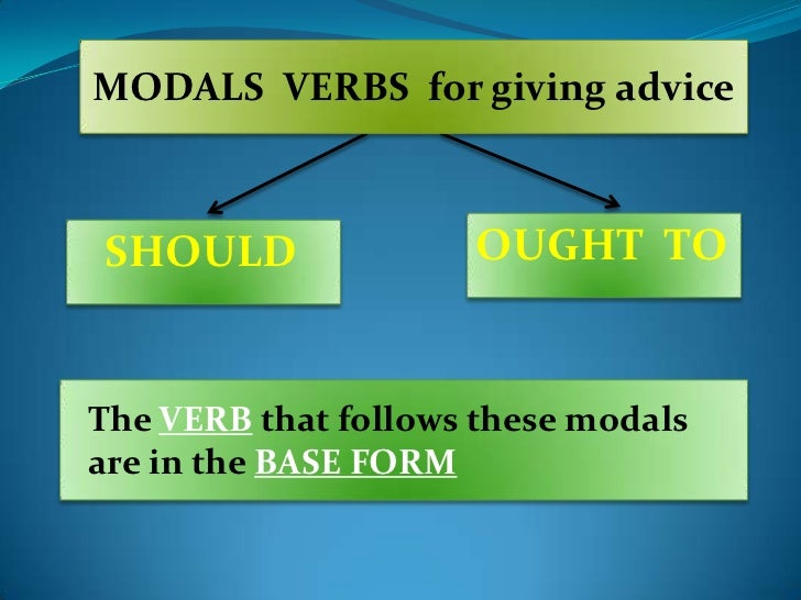 MODALS VERBS for giving adviceSHOULD               OUGHT TOThe VERB that follows these modalsare in the BASE FORM