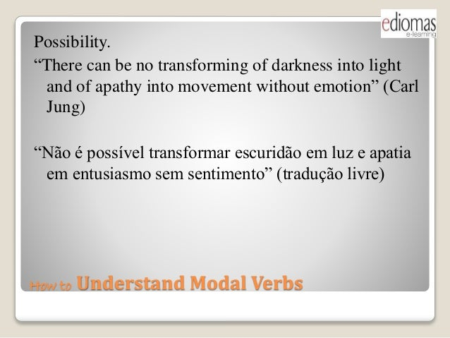 "How to Understand Modal Verbs Possibility. ""There can be no transforming of darkness into light and of apathy into movemen..."
