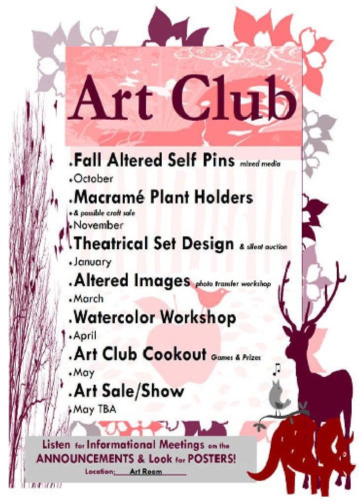 art club poster. Black Bedroom Furniture Sets. Home Design Ideas