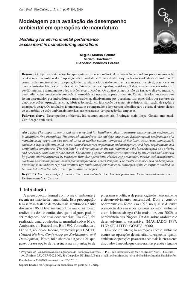 Gest. Prod., São Carlos, v. 17, n. 1, p. 95-109, 2010  Modelagem para avaliação de desempenho ambiental em operações de ma...